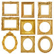 canvas print picture - Set of golden vintage frame isolated on white background