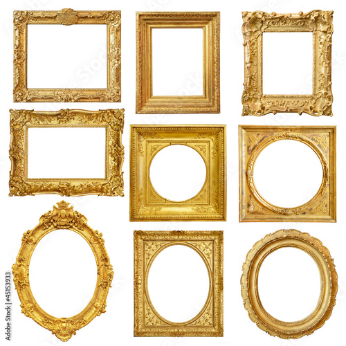 canvas print picture Set of golden vintage frame isolated on white background