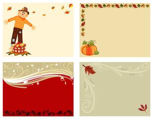 Autumn set of 4 cards - vector EPS AI8
