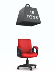 3d Red Office chair with one ton weight falling