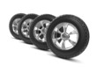 3d Set of car wheels and tyres