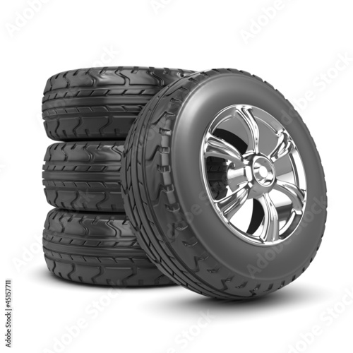 3d Stack of car wheels and tyres