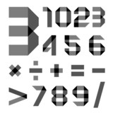 Font from a paper transparent tape - Numerals