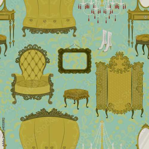 Seamless pattern with antique furniture