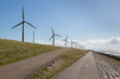 Windturbines along a Dutch dike near Urk
