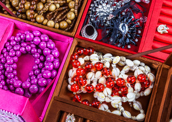 Boxes of different colors with jewelery