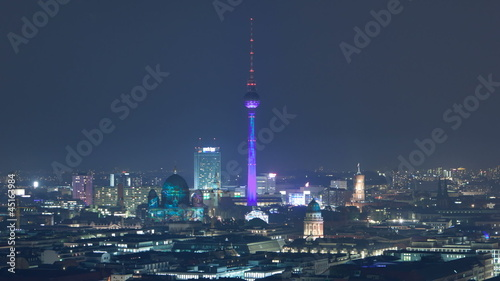 Berlin Skyline Light City Zoom Timelapse in Full HD 1080p