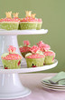 canvas print picture - Wedding cupcakes on tiered cakestand