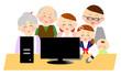 笑顔でパソコンをする家族