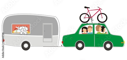 car with caravan - family