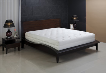 Nice mattress in beautiful set up bedroom atmosphere