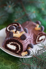 Traditional Christmas Yule Log cake, selective focus