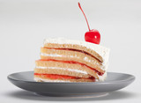 Eatable strawberry cake topping with mousse and cherry poster