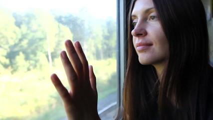 train, window, female,