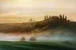 Scenic view of typical Tuscany mist landscape