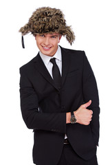 A businessman in a fur hat