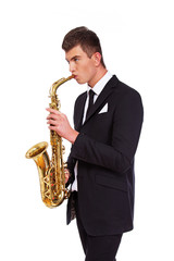 A musician with a saxophone
