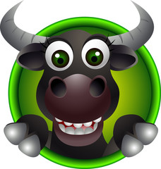 cute bull head cartoon