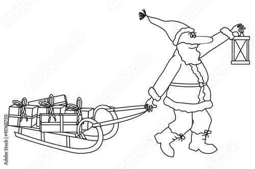 Santa carrying gifts - coloring book