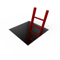 Hole in the floor with a red ladder