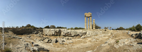 Apollo Temple at the Acropolis of Rhodes (panoramic view), Greec