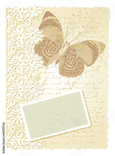 romantic card with butterfly