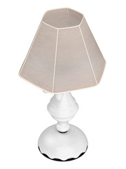 White lamp with hexagonal shade