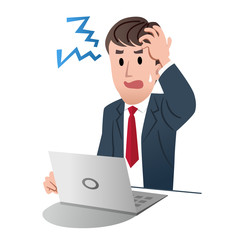 Frustrated businessman holding his head with left hand