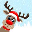 Rudolph Hat Winter Forest Snowfall Diagonal