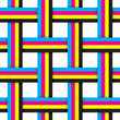 Seamless pattern with intersecting cmyk ribbons. Vector.