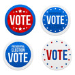 Presidential election stickers. Vector illustration.