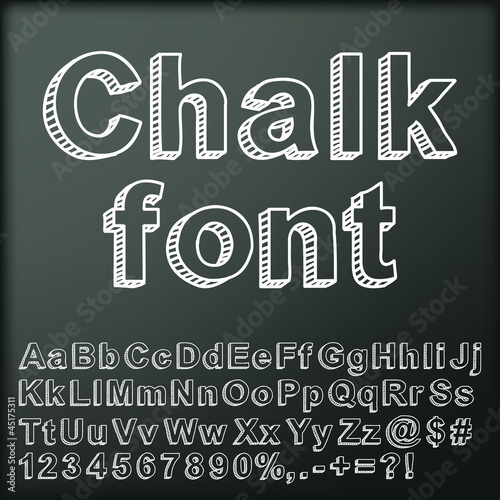 Abstract chalk font. Vector illustration.