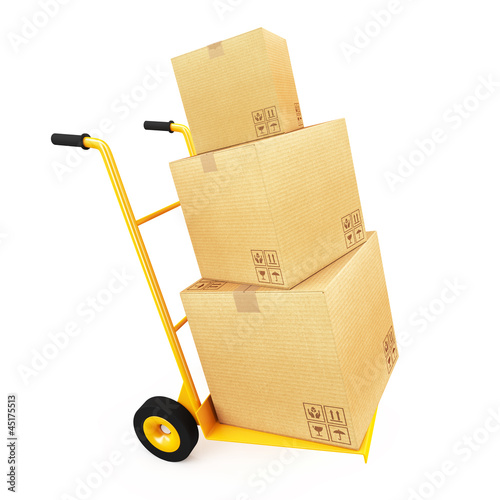 Cardboard on handcart