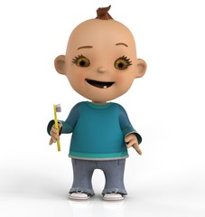 Niño Con Cepillo Dientes