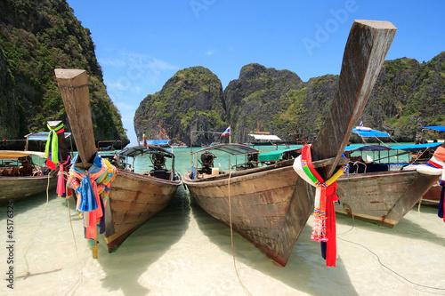 Long Tail Boat at Maya Bay, Krabi, Thailand.