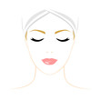 Face of woman with closed eyes. Color illustration.