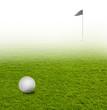 Golfball auf Golfplatz mit Fahne