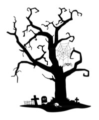 Spooky silhouette of tree