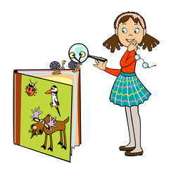 school girl with book of animals