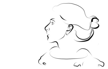 Woman's profile. Sketch