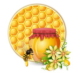 Background with honeycomb,honey jar and bees