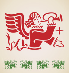 Christmas Angel, vintage design element