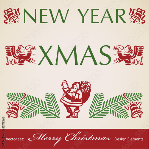 Christmas retro design elements, vector