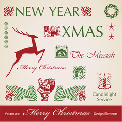 set of Christmas retro design elements, vector