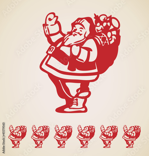 Santa Claus, Christmas vintage design element