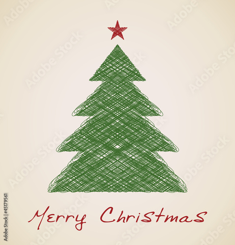 Christmas sketch fir tree, retro design
