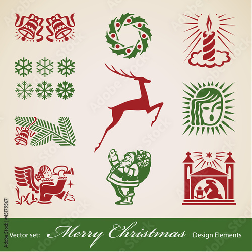 Christmas decoration set,  retro design elements
