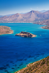 Mirabello bay with Spinalonga island on Crete, Greece