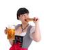 Junge Frau im Dindl mit Bierkrug und Brezel