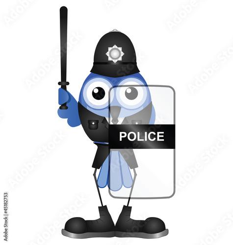 Bird riot policeman